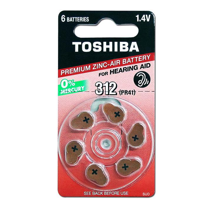 TOSHIBA 東芝 PR41/S312/A312/312 空氣助聽 器電池(1卡6入)一次性鈕扣電池