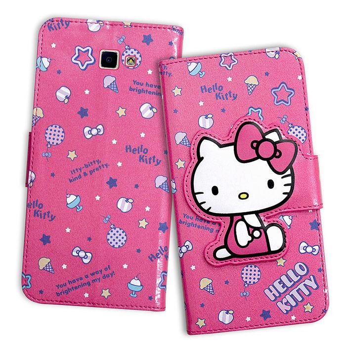 三麗鷗授權 Hello Kitty 凱蒂貓 Samsung Galaxy J7 Prime 5.5吋 閃粉絲紋彩繪皮套(甜點桃)J7P-手機平板配件-myfone購物