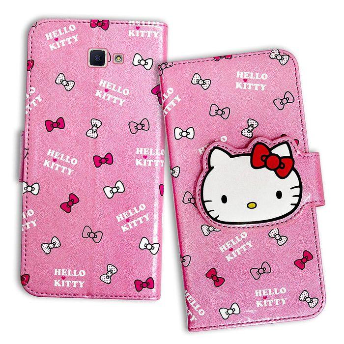 三麗鷗授權 Hello Kitty 凱蒂貓 Samsung Galaxy J7 Prime 5.5吋 閃粉絲紋彩繪皮套(蝴蝶結粉) J7P-手機平板配件-myfone購物