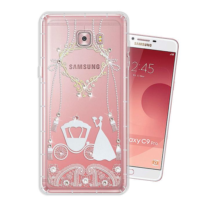 三星 Samsung Galaxy C9 Pro 奧地利水晶彩繪空壓手機殼(精靈捧花)