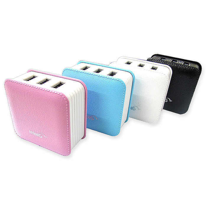 HANG皮紋風 3USB/4.3A大電流急速充電器/快充旅充頭/USB插頭櫻花粉