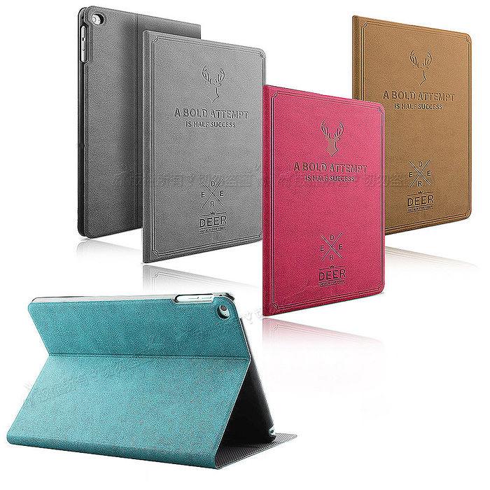 VXTRA iPad mini 4 北歐鹿紋風格平板皮套 防潑水立架保護套蜜桃紅