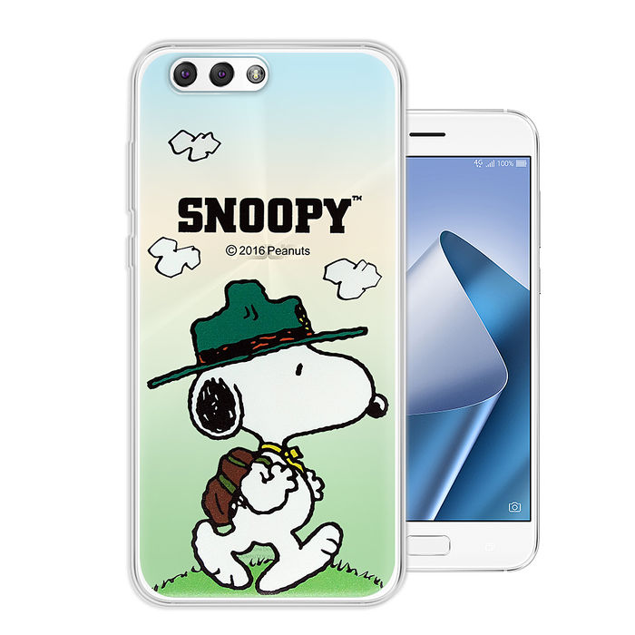 史努比/SNOOPY 正版授權 ASUS Zenfone 4 5.5吋 ZE554KL 漸層彩繪軟式手機殼(郊遊) 華碩