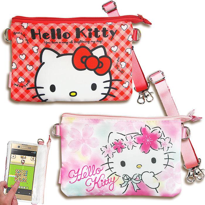 三麗鷗授權正版 Hello Kitty凱蒂貓 觸控手機肩背包(紅格/櫻花) 手拿包 手機袋紅格