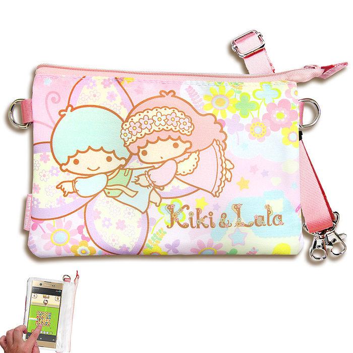 三麗鷗授權正版Kikilala 雙子星 觸控手機肩背包(蝴蝶) 手拿包 手機袋