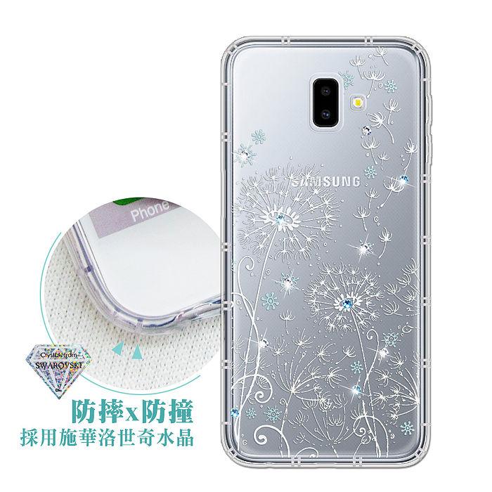 三星 Samsung Galaxy J6+ / J6 Plus 浪漫彩繪 水鑽空壓氣墊手機殼(風信子) 有吊飾孔
