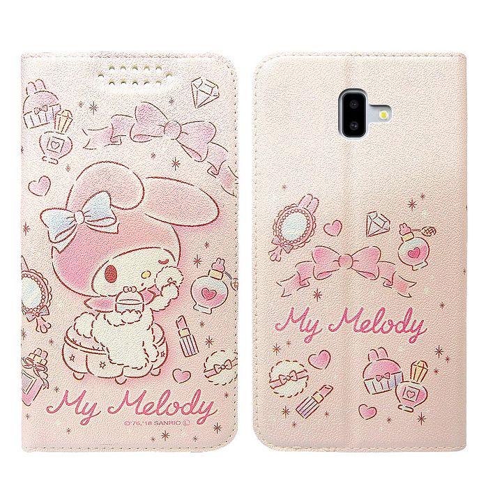 三麗鷗授權 美樂蒂 Samsung Galaxy J6+ / J6 Plus 粉嫩系列彩繪磁力皮套(粉撲) 三星專用
