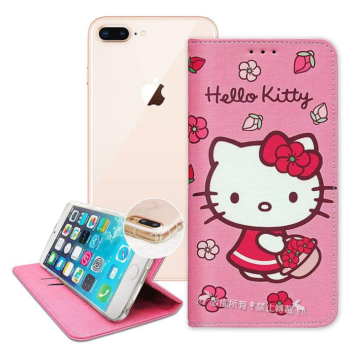 三麗鷗授權 Hello Kitty iPhone 8 Plus/7 Plus/6s Plus 5.5吋 櫻花吊繩款彩繪側掀皮套