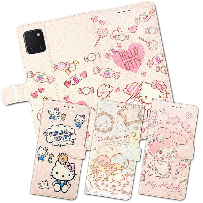 三麗鷗授權 Hello Kitty貓/Kikilala 雙子星/My Melody美樂蒂 三星 Samsung Galaxy Note10 Lite 粉嫩系列彩繪磁力皮套(小熊/軟糖/花圈/粉撲)