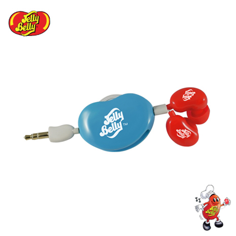 【JELLY BELLY 】雷根糖混色版捲線器耳機 (紅白藍)