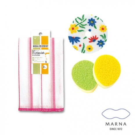 【MARNA】廚房抹布2入去垢菜瓜布海綿組(粉)