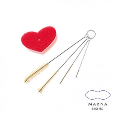 【MARNA】愛心造型海綿瓶口專用洗刷4入組