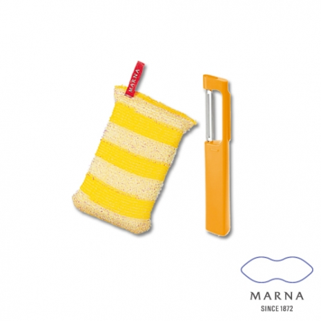 【MARNA】廚房專用金屬菜瓜布削皮器組(黃)