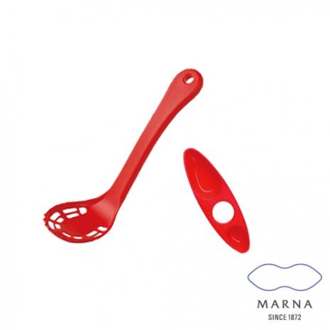 【MARNA】搗泥用濾網式湯杓湯匙型計量器組(紅)