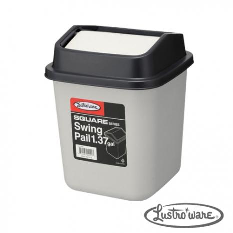 【Lustroware】日本進口搖蓋式垃圾桶5.2L(灰色)