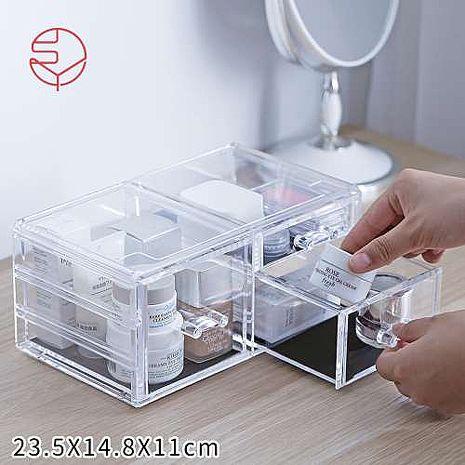 【日本霜山】壓克力透明化妝品抽屜式收?盒(左右三層抽屜)