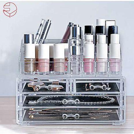 【日本霜山】壓克力透明化妝品抽屜式收?盒+多格口紅收納盒(三層抽屜)