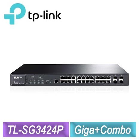 TP-LINK 24埠 Gigabit L2 網管型PoE交換器(TL-SG3424P)