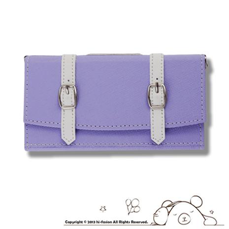 Hi Fasion iPhone 5/5S 側掀魔鬼氈手拿包款皮套-紫