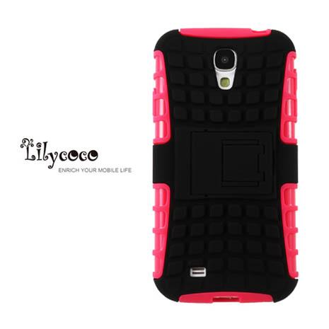 Lilycoco Samsung S4 i9500 sport 運動風全方位保護殼-桃黑-手機平板配件-myfone購物
