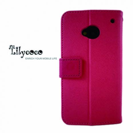 Lilycoco HTC New One M7 可站立側翻皮套-粉紅