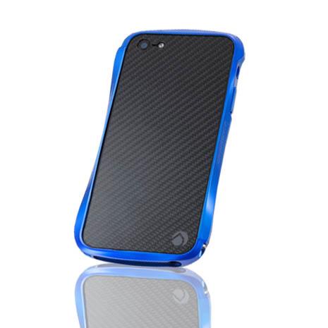 Deff iPhone 5/5S METALIC&CARBON 碳纖維背貼金屬邊框-藍