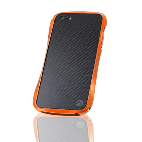 Deff iPhone 5/5S METALIC&CARBON 碳纖維背貼金屬邊框-橘