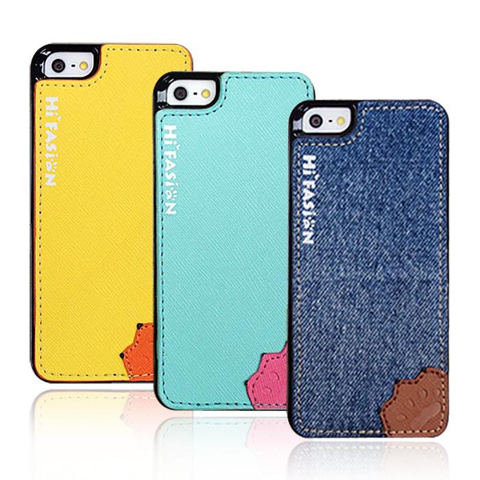 Hi Fasion iPhone 5 / 5S Hi-Five 可站立 魔換背貼保護殼丹寧色