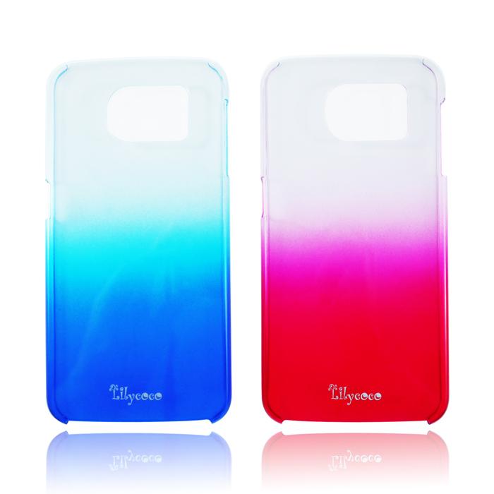 Lilycoco Samsung Galaxy S6 漸層透明 硬式超薄保護殼漸層粉