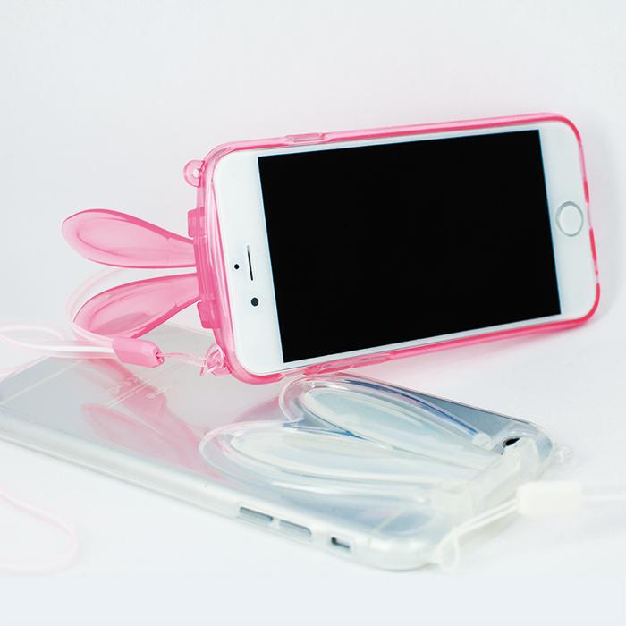 Mobile-style iPhone 6/6s 兔耳造型 4.7吋 透明軟膠套透白