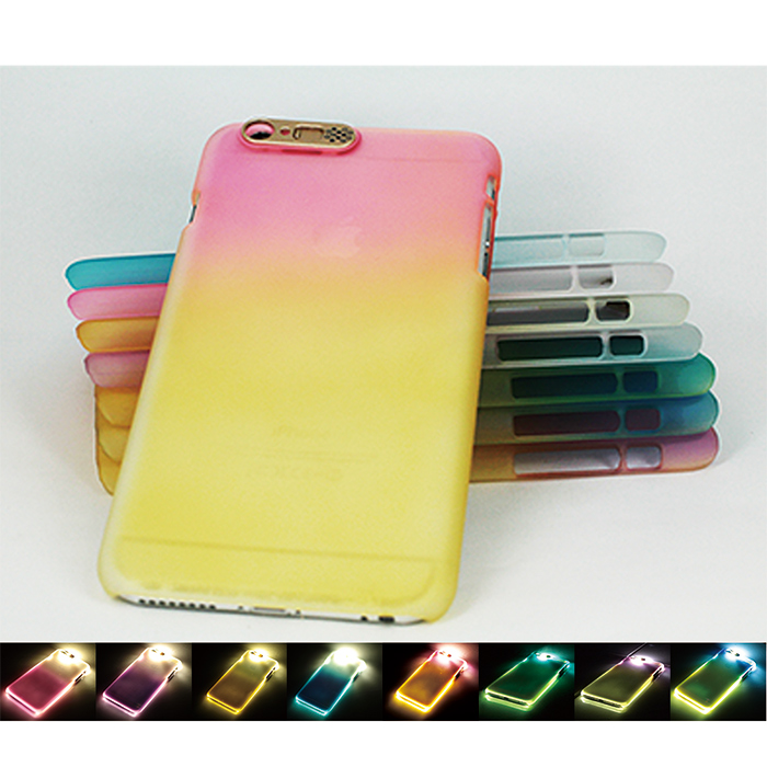 Mobile-style iPhone 6 6S 漸層炫彩 4.7吋 發光來電閃手機殼紫黃