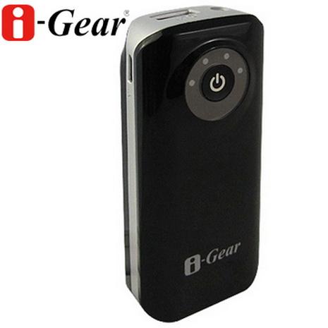 i-Gear 6000mAh LED行動電源(黑)-加贈絨布收納袋
