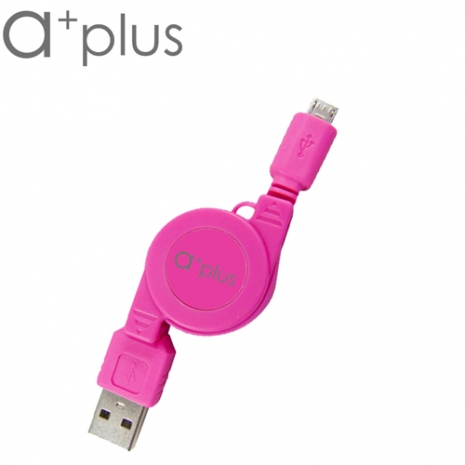 a+plus USB To micro USB 伸縮捲線 - 蜜桃紅
