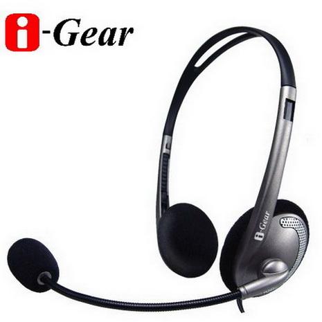 i-Gear 頭戴式立體聲耳機麥克風(灰)