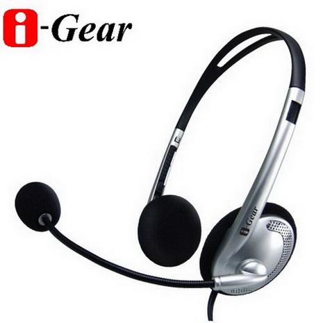 i-Gear 頭戴式立體聲耳機麥克風(銀)