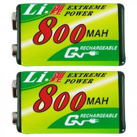 GN奇恩 9V鋰充電電池(800mAh) 二入組