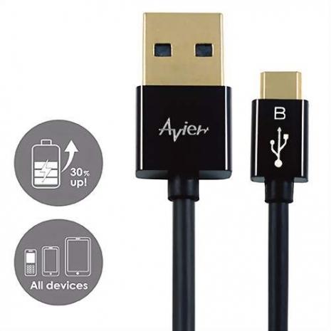 【avier】USB 2.0 Micro USB 高速充電傳輸線 100cm (黑)