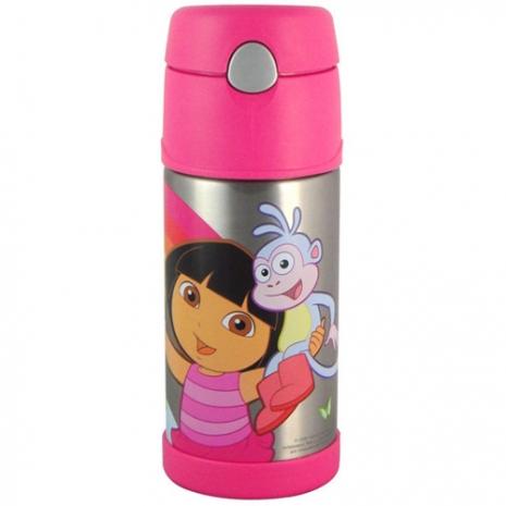 THERMOS膳魔師370ml不鏽鋼朵拉桃紅色保冷瓶(附吸管背帶) F4008DR6