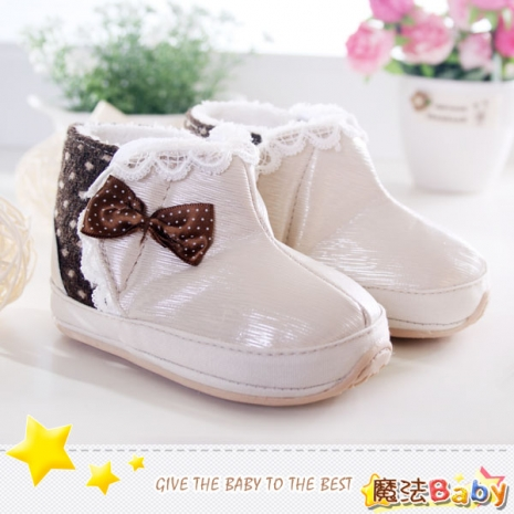 魔法Baby~【KUKI酷奇】甜美蝴蝶結飾蕾絲雪靴寶寶鞋/學步鞋(米白/咖啡)~女童鞋~時尚設計童鞋~sh1245