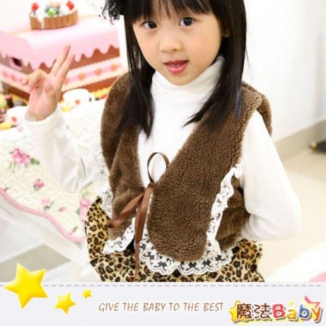 魔法Baby~雪絨蕾絲邊綁帶咖啡背心~童裝~女童裝~時尚設計童裝~k26634140