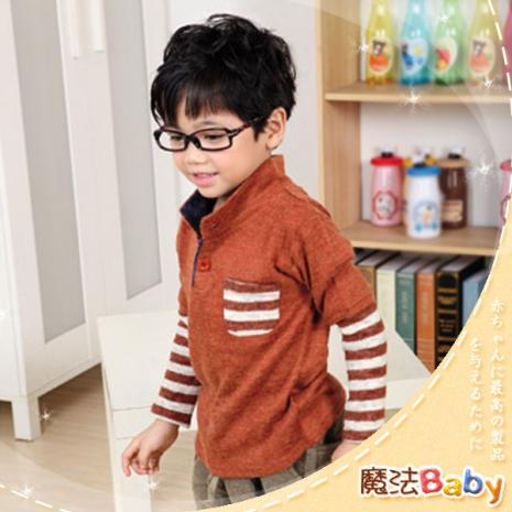 魔法Baby ~韓版假兩件式立領針織衫~童裝~小潮男女童裝~時尚設計童裝~k23657