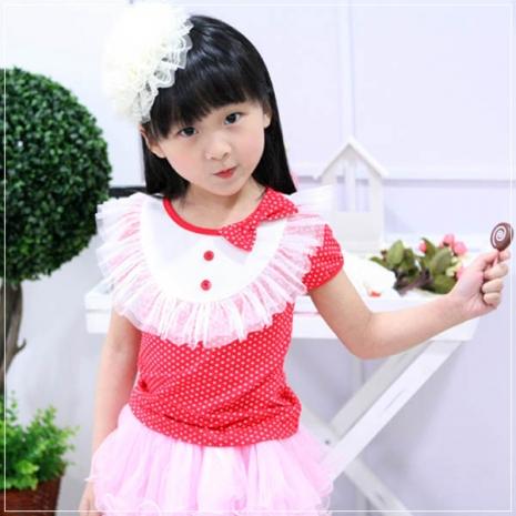 魔法Baby ~甜美系公主裝蕾絲蝴蝶結上衣(紅)~童裝~女童裝~時尚設計童裝~k20199100