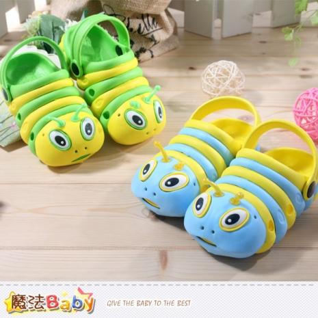 魔法Baby~兒童涼鞋~毛毛蟲造型水陸輕便鞋~男女童鞋~sh3867B綠黃28