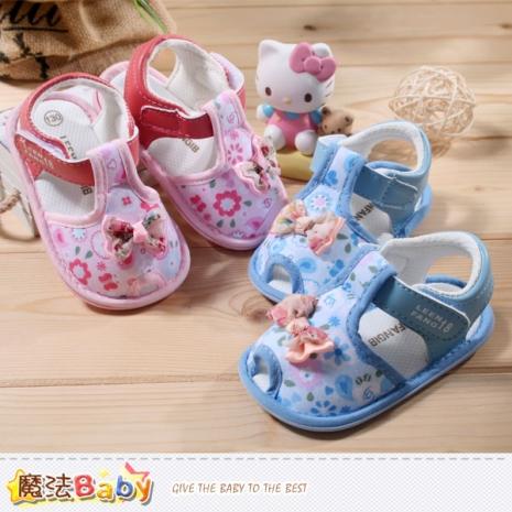 魔法Baby~寶寶涼鞋~百貨專櫃正品女寶寶外出鞋~嬰兒鞋~sh3911藍14