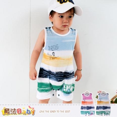 魔法Baby~連身衣~百貨專櫃正品純棉無袖包屁衣(藍.紅)~嬰兒服~k35308藍6