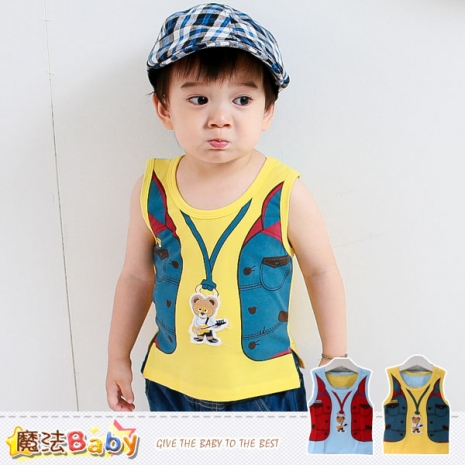 魔法Baby~背心~男童夏季背心上衣(黃.藍)~k35353A黃12