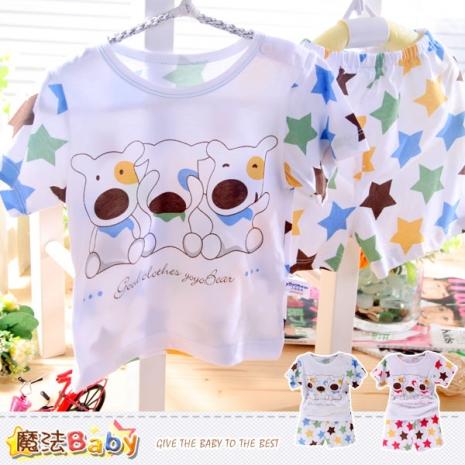 魔法Baby~嬰幼兒居家套裝~輕薄涼爽睡衣(藍.紅)~男女童裝~k35421