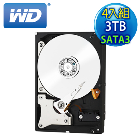 《4入組》WD威騰 Red 3TB 3.5吋 SATA3紅標硬碟(WD30EFRX)