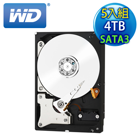 《5入組》WD威騰 Red 4TB 3.5吋 SATA3紅標硬碟(WD40EFRX)