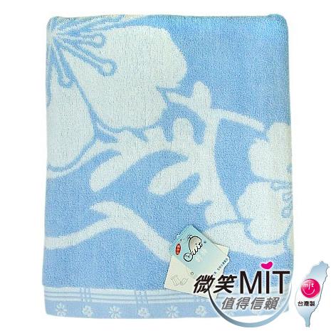 【微笑MIT】 舒特/千元棉織-梅花雙色提花浴巾 YJC-521(藍色)